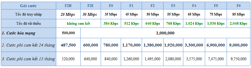 Bảng giá cước internet cáp quang FiberVNN