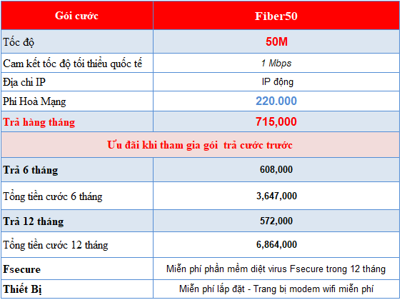 Lắp internet cáp quang Fibervnn gói 50M